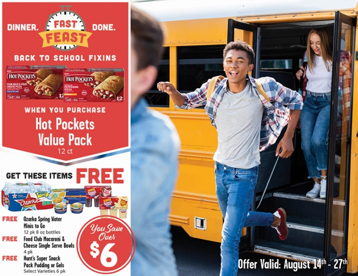 A graphic of the Fast Feast: Get THREE foods FREE when you buy a Hot Pockets Value Pack (12 ct), now through August 27!