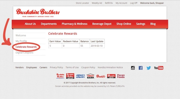 "A screenshot of a shopper's Celebrate account page with an arrow pointing to the new ""Celebrate Rewards"" option where the shopper can view his/her rewards."
