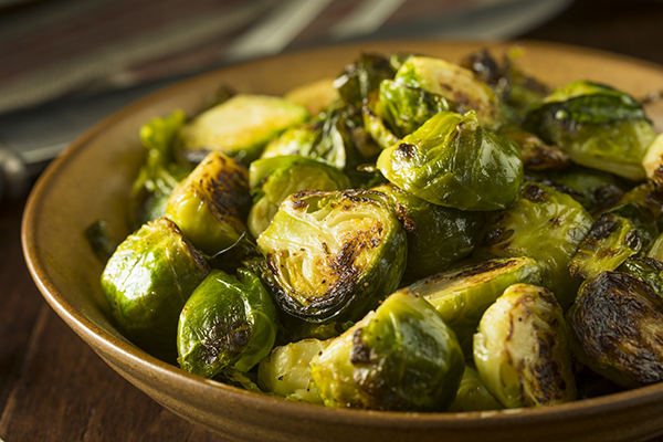 A bowl of roasted Brussels sprouts
