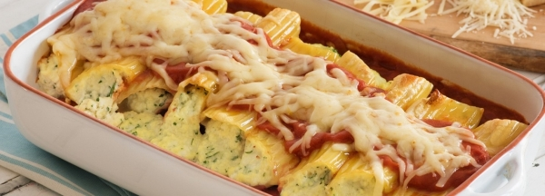 Baked Manicotti with Three Cheeses