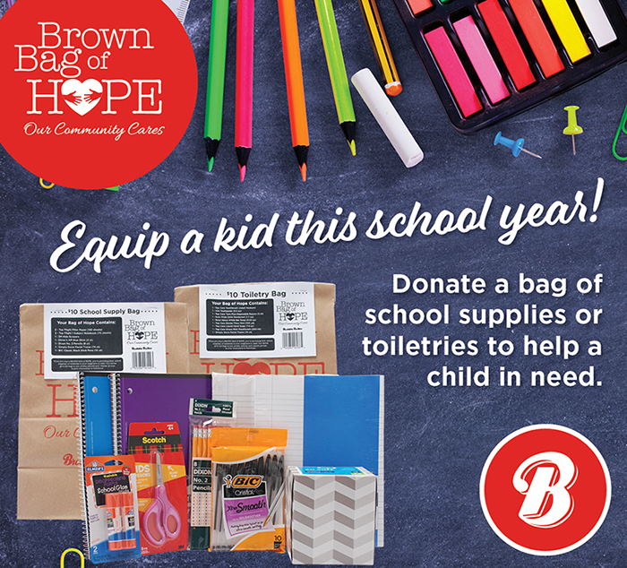 "A chalkboard background featuring colorful school supplies and the copy ""Equip a kid this school year! Donat a bag of school supplies or toiletries to help a child in need."""