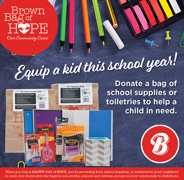 Back to School themed Brown Bags of Hope are pictured on a school-themed background with pencils and school supplies scattered over chalk board.