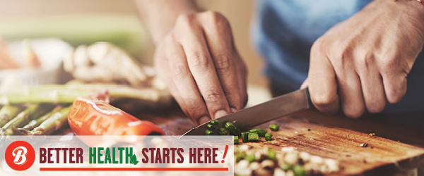 A photo of hands chopping vegetables with a graphic logo featuring a Brookshire Brothers logo and the text Better Health Starts Here