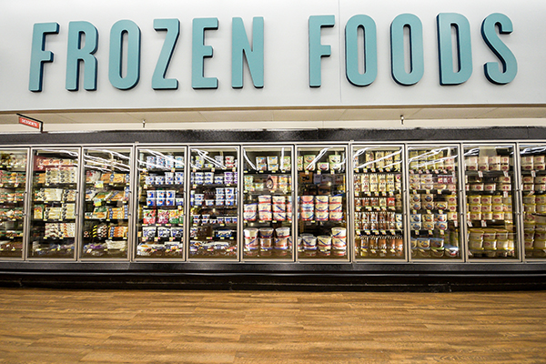 A wide shot of the Frozen Foods section in the newly remodeled Huntsville store.