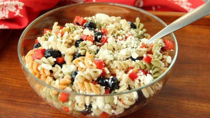 Bowl of Red, White and Blueberry Pasta Salad