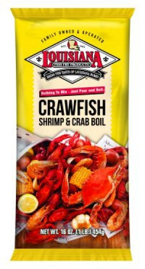 A 16oz packet of Louisiana Fish Fry Crawfish, Shrimp, & Crab Boil Seasoning