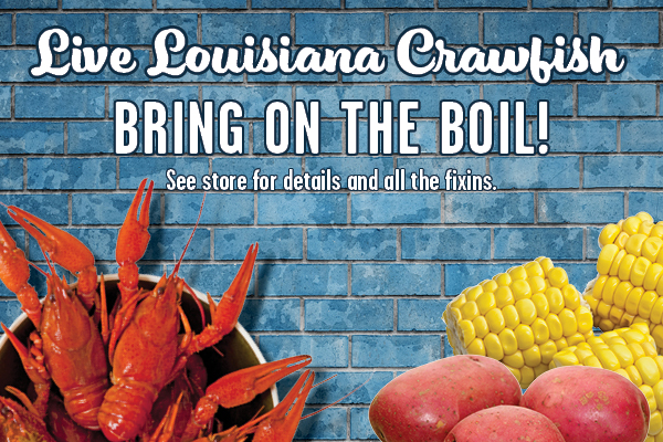 "A graphic feature with a blue-brick background as well as crawfish and fixins pictured in the corners. The text reads ""Live Louisiana Crawfish. Bring on the boil!"""