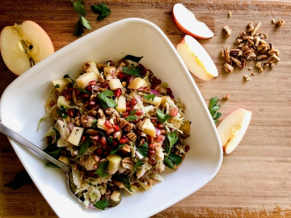 Crunchy Cabbage, Apple, and Pomegranate Salad