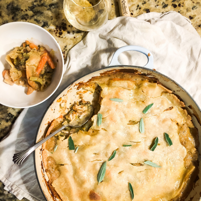 Chicken Pot Pie with Roasted Vegetables and Sage