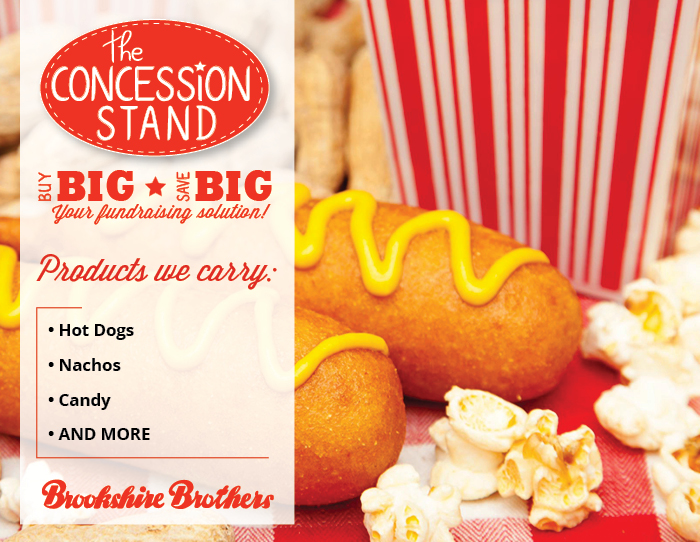 A shot of different concessions foods (popcorn, peanuts, corn dogs) with a graphic callout for what we carry with the Concession Stand
