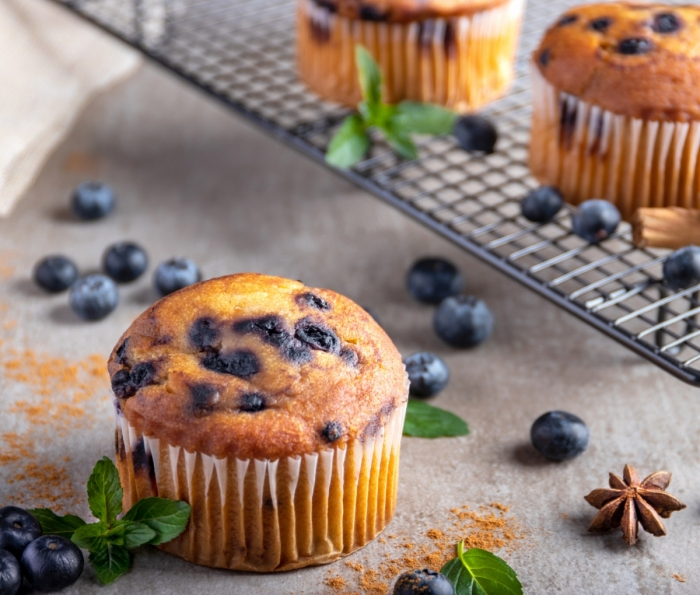 Blueberry muffin over a stone table