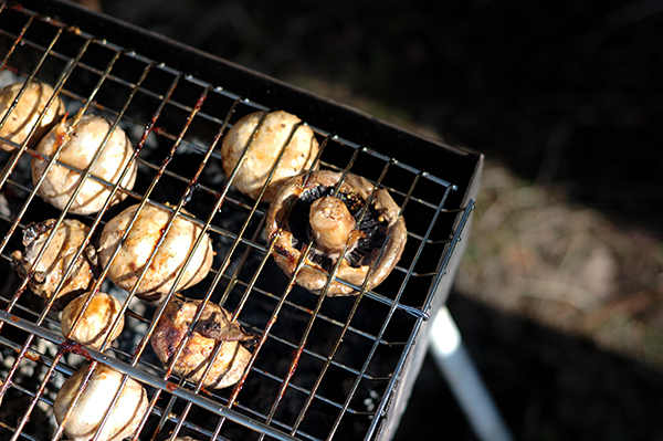Mushrooms champignons being cooked on the grill