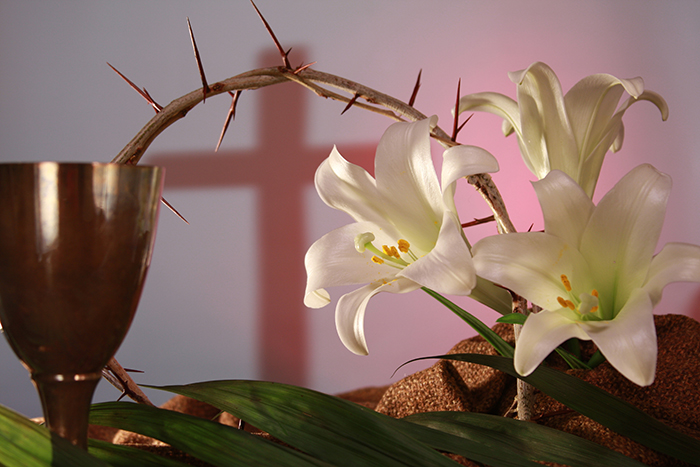 An image of Easter lilies and thorn crown
