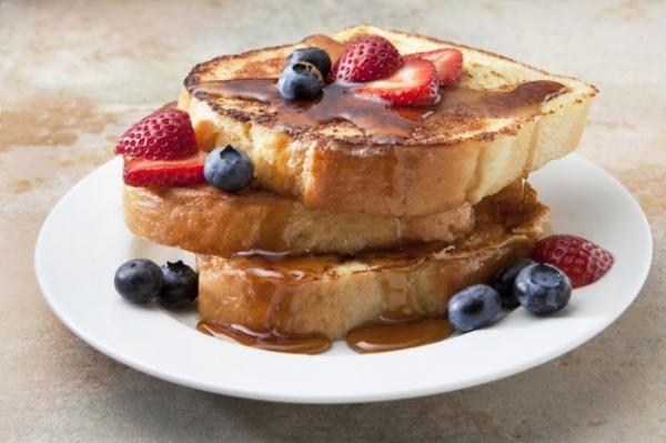 Fruit and maple syrup covered French Toast