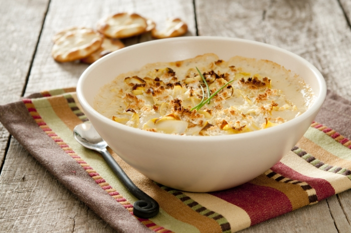 Bowl of lemony artichoke dip