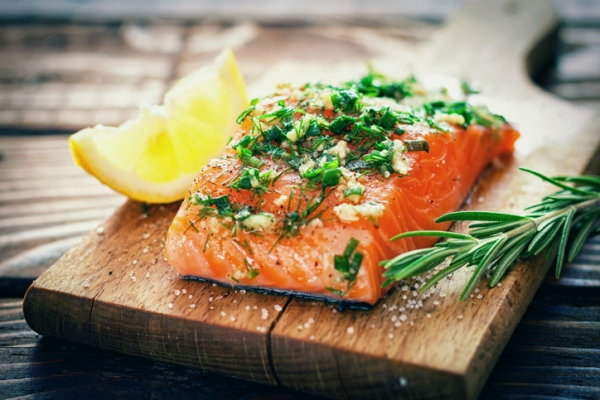 Crockpot Salmon with Fresh Herb Caper Relish