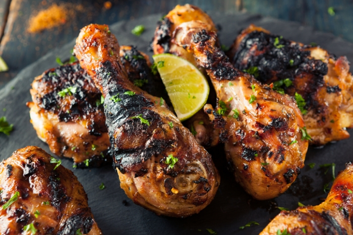 Roast Jerk Chicken with Pineapple Mint Salad
