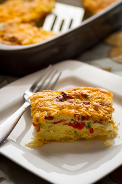 A serving of breakfast casserole on a plate