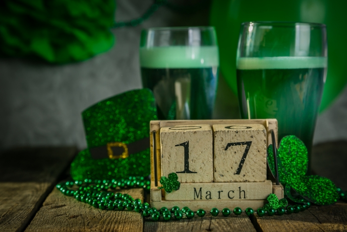 Green Beer with St. Patrick's day date and decorations
