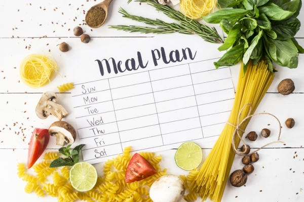 Meal Planning sheet surrounded by food