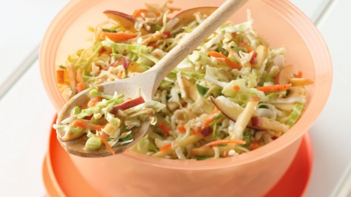 Bowl of Honey-Mustard Coleslaw with Apples