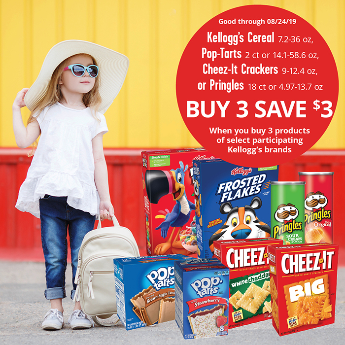 A promotional offer for Kellogg's products on a background with a little girl wearing a hat and sunglasses, waiting for a school bus with her backpack.