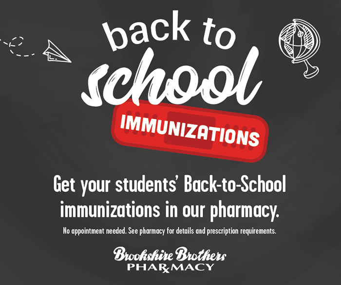 A graphic highlighting our back to school immunizations.