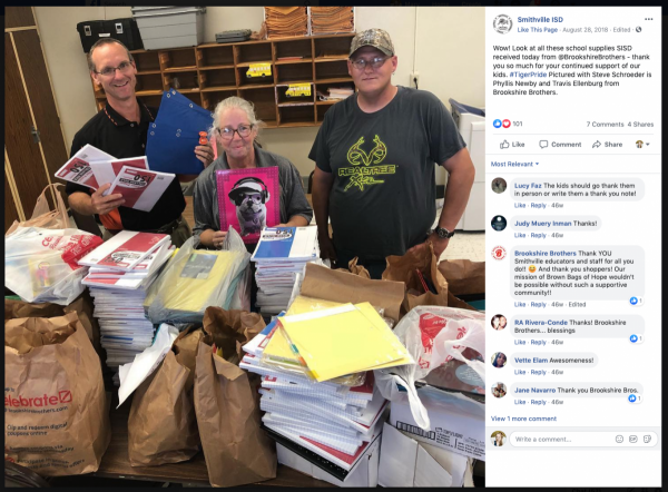 A screenshot of a Facebook post from Smithville ISD thanking Brookshire Brothers for their Brown Bags of Hope donation. A Smithville ISD employee is pictured with two Brookshire Brothers employees and a table full of donated school supplies.