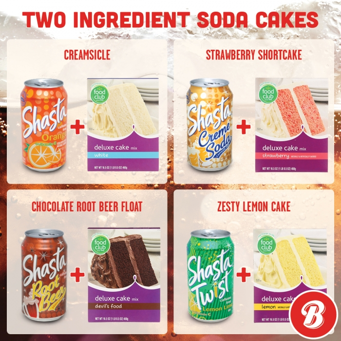 Examples of two-ingredient Shasta Soda cakes