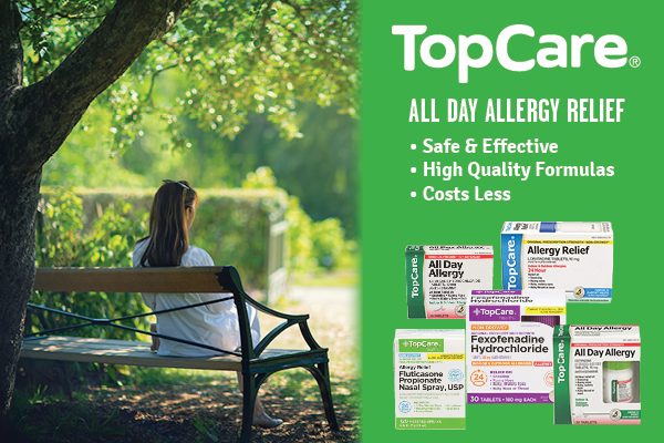 A graphic feature of TopCare allergy relief products on a background with a woman sitting on a park bench on a bright spring day.